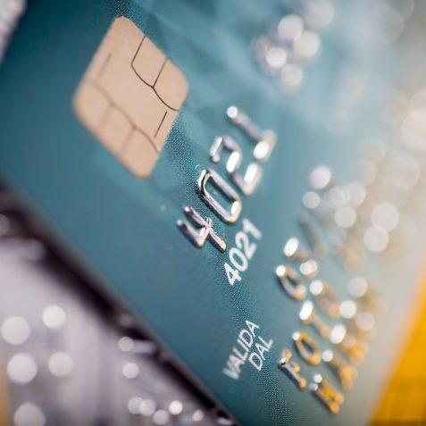 Close up of a green credit card