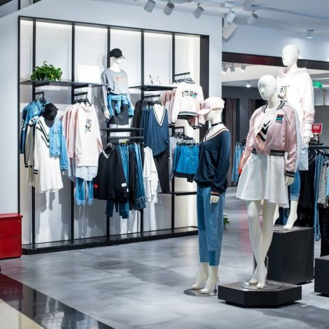 fashion display in modern shopping mall